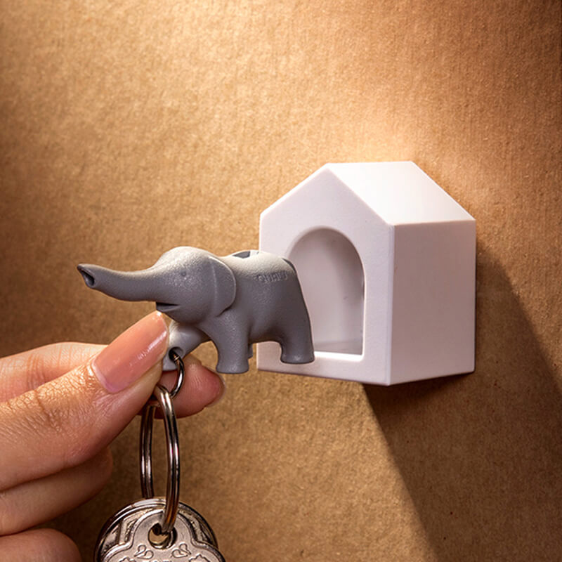 A true-to-form real white elephant gift or wall décor item made by Qualy Design Studios, this elephant key fob doubles, triples, and quadruples as a holder, a chain, and an emergency whistle in case you need to use its natural born cuteness to make a lot of noise.